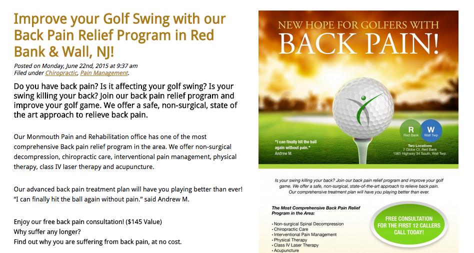 Golf Back Pain Blog